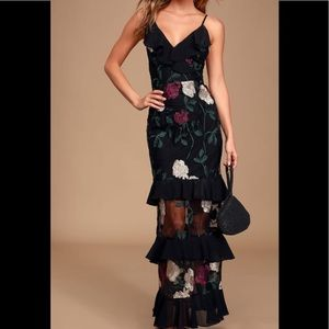 True to heart black floral embroidered dress